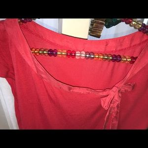 Tops - Coral blouse with silk tie